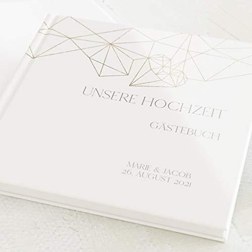 sendmoments Hochzeit Gästebuch, Diamant, personalisiert mit Ihrem Wunschtext, hochwertige Blanko-Innenseiten, 32 Seiten oder mehr, Hardcover-Buch, quadratisch - Industrial Gold