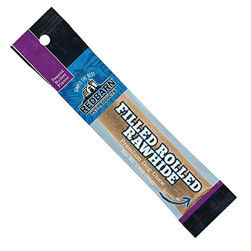 Redbarn Filled Rolled Rawhide-Peanut Butter Premium Dog Treats (24-Count)