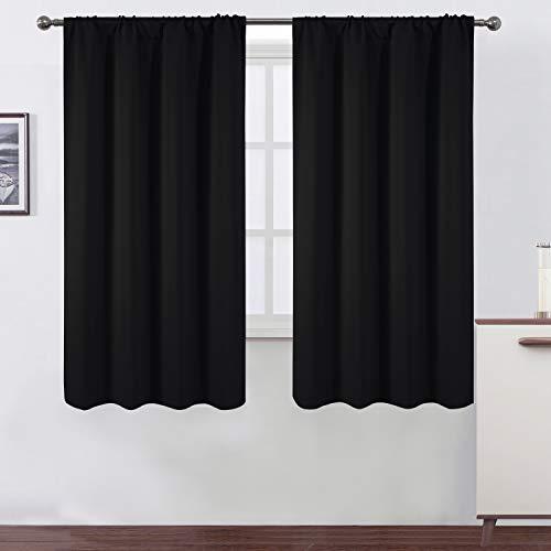 LEMOMO Black Blackout Curtains/42 x 63 Inch/Set of 2 Panels Rod Pocket Room Darkening Curtains for Bedroom