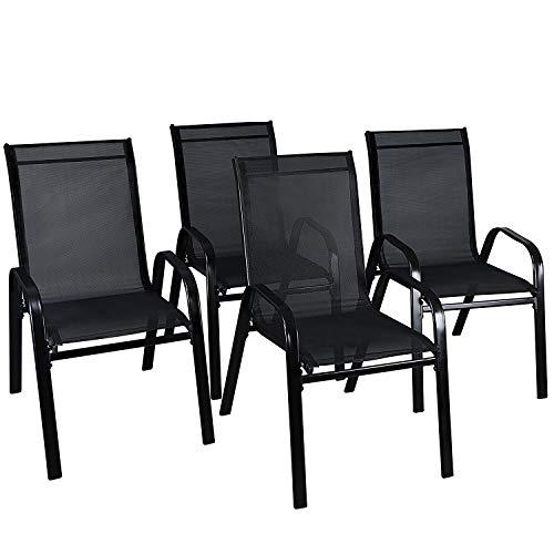 LXDUR - Silla de comedor, apilable, de textoline, ideal para jardín, restaurante, bar,café, patio, muebles de jardín, para interiores y exteriores, respaldo alto, 4 sillas