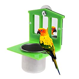 Autone Unique Bird Parrot Stainless Steel Food Bowl Cup with Mirror Flexible Cage Toy Accessories