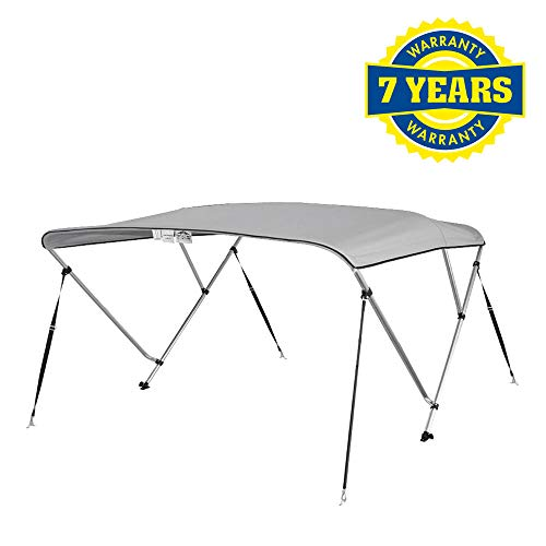 "4 Seasons Bimini Top Boat Cover 3 Bow 6 ft. Long in Different Sizes & Colours (Gray, 54"" High 3 Bow 6' ft. L x 67"" - 72"" W)"