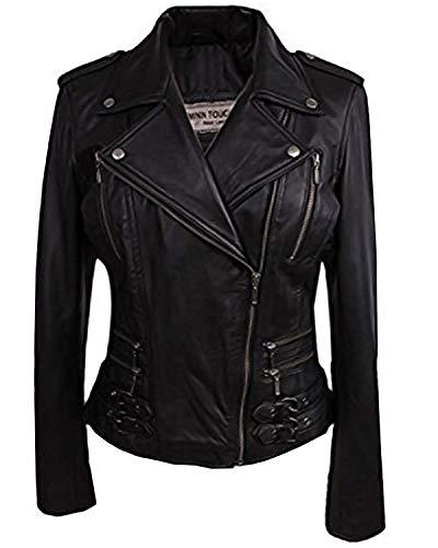 Preisvergleich Produktbild BRANDSLOCK Damen Echtes Leder Biker Jacke