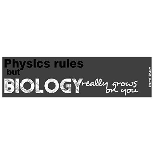 Adesivo de para-choque com regras de física da EvolveFISH (mas a biologia realmente cresce em você) - [27,94 cm x 7,62 cm]