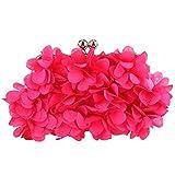 Bonjanvye Floral Clutch Purses for Women Satin Evening Bag-Fuchsia