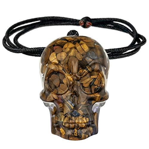 SUNYIK Healing Orgone Skull Crystal Stone Pendant Necklace for Men and Women, Hand Carved Skull Chips Stone Necklace for Unisex Adjustable 18-24', Tiger's Eye