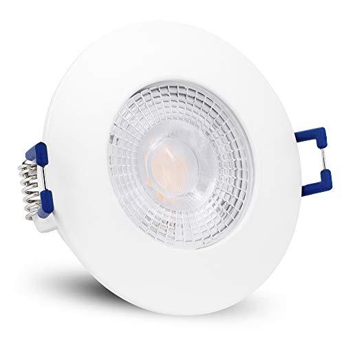 linovum ETAWA LED Einbaustrahler IP44 extra flach 35mm mit 5W LED warmweiß 230V - Einbauspot Bad außen weiß rund 230V