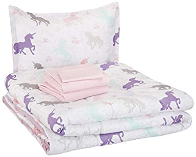 AmazonBasics Easy Care Super Soft Microfiber Kid's Bed-in-a-Bag Bedding Set - Twin, Purple Unicorns