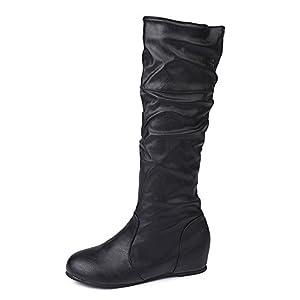 ZARLLE Zapatos De Mujer Botas De Mujer Botines Mujer Invierno OtoñO Negro Plano Pierna Alta Ante Casual Largo Alto Botas De Color SóLido Plana Altas Botas Largas Zapatos Casuales