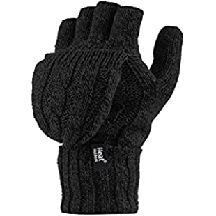 Heat Holders - Women's Thermal Converter FINGERLESS Cable Knit 2.3 tog Gloves - One size (Black)
