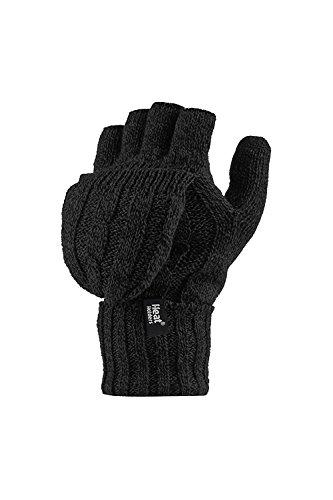 Heat Holders - Damen Thermo fingerlose Handschuhe, Fausthandschuhe-Einheitsgröße, 2.3 tog (Schwarz)