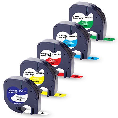 5x Labelwell 12mm 0.47 Kompatibel Schriftband Ersatz für Dymo 91221 91222 91223 91224 91225 Schwarz auf Weiß für Dymo S0883990 LetraTag LT-100H LT-100T Plus LT-110T QX 50 XR XM 2000 Beschriftungsgerät