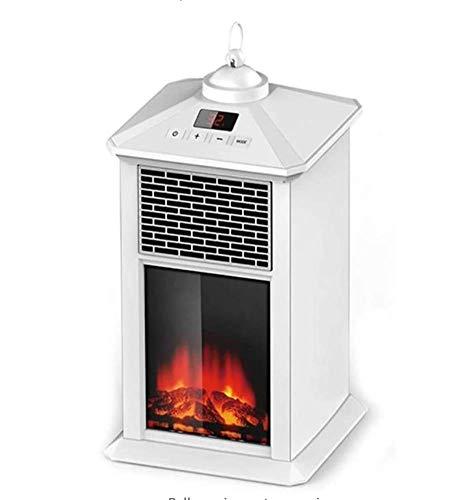 Phil Beauty Farol Calefactor con Efecto De Llama, LED, Control Remoto, Bajo Consumo 900W El Ahorro De Energía Calentador De Oficina para Dormitorio, 17X17x35cm,Blanco