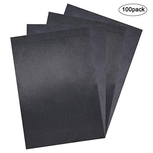 NATUCE 100 Blätter Carbon Transferpapier, 8.26 X 11.8 Zoll Schwarz Kohlepapier Graphitpapier, Transferpapier Zeichnen Pauspapier für Holz/Papier/Segeltuch/Keramik/Handwerk