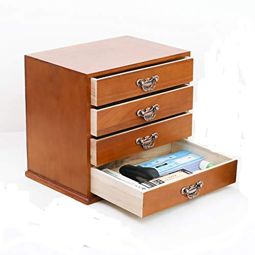 FPigSHS File Cabinets Office Desktop Opbergdoos, 4-laags massief houten ladekast A4 Data Organizing Cabinet, L37,5*W26*H33CM