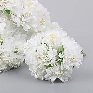 VINFUTUR Flores Artificiales Clavel Blanca de Seda, 54pcs Flores Artificiales Decoración Jarrón Mesa Fiesta Cabezas de…