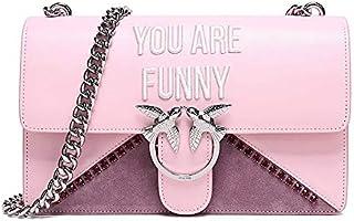 PINKO 品高 女士粉色牛皮字母绣花燕子扣头链条单肩斜挎包 1P212W Y4HH P36