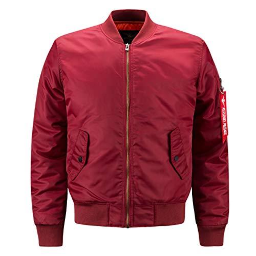 Herren Bomberjacke Lässig Trendy Mantel Jacke Mantel Leichte Wendejacke Windproof Classic Windbreaker,Red-8XL