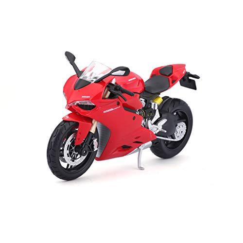 Bauer Spielwaren 2049741 Ducati 1199 Panigale: Originalgetreues Motorradmodell im Maßstab 1:12, mit Federung und Seitenständer, spezielles Ducati-Rot (5-11108)