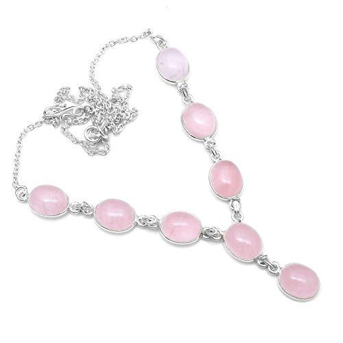 Silver Palace Collar de Cuarzo Rosa Natural de Plata esterlina para Mujeres y niñas