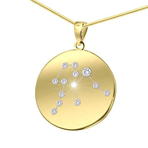 LillyMarie Damen Massive Silberkette Vergoldet Silber Swarovski Elements Sternzeichen-Anhänger Wassermann Längen-verstellbar Geschenkverpackung Kleine Geschenke