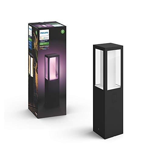 Philips Hue Impress Pedestal o Sobremuro Inteligente Exterior LED (IP44), Luz Blanca y de Colores, Compatible con Alexa y Google Home