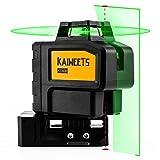 KAIWEETS レーザー 墨出し器 グリーンレーザー パルスモードの自動補正建設レーザー 『垂直1本、水平360°、地墨点x2』 自動補正 傾斜モード 高輝度 高精度 最大36時間の操作時間 リチウム電池 充電可能 磁気ピボットベース ターゲットプレート(KT360B)