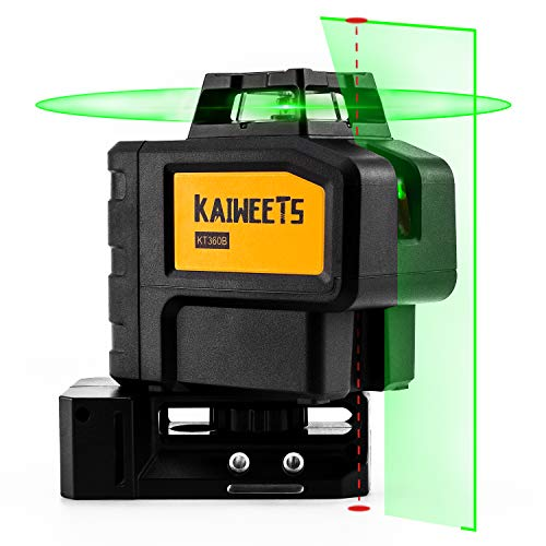 KAIWEETS KT360B 3D Nivel Láser Verde, Nivel Láser Autonivelante, 360º Laser Horizonte, Laser cruzado y 2 Puntos Verticales, Hasta 60m en Modo de Pulsado, Hasta 40 horas con 2 Baterias Cargadas, IP54