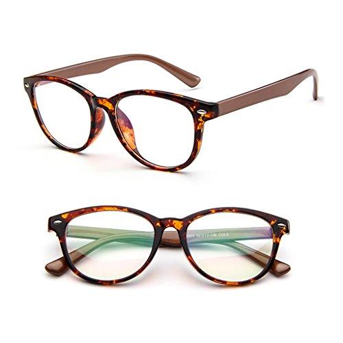 Misright Retro Eyeglasses Frame Full-Rim Men Women Vintage Glasses Eyewear Clear Lens New (Tea Coffee)
