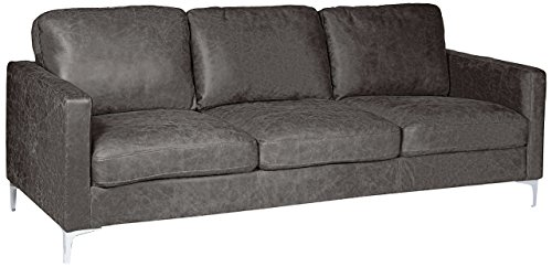 Homelegance Breaux Modern Track Arm Sofa with Chrome Legs Accents, Gray
