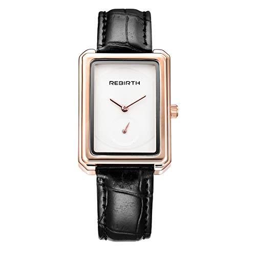 Zwbfu Renacimiento Mujer Marca Relojes de Pulsera Reloj de Dama de Cuero Cuadrados de Moda Relojes Marrón