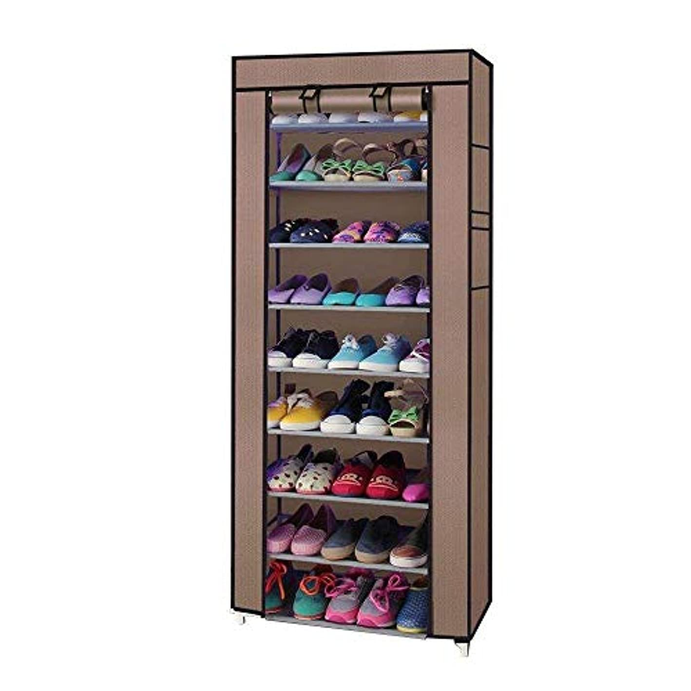 Weelongha 10 Tiers 9 Lattices Shoe Rack Shelf Storage Closet Organizer Cabinet with Cover Tier Portable Single Boot Home Layer Double Rows