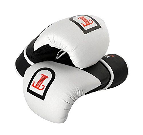 BLANCHO BEDDING 12 oz Refroidir la Formation des Adultes Gants de Boxe pour Kickboxing Sparring Muay Thai, Noir Blanc