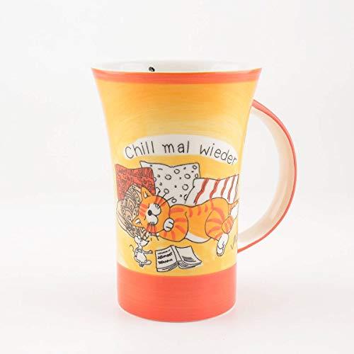 Mila Keramik-Becher, Coffee Pot, Oommh Katze Chill mal Wieder | MI-82159 | 4045303821590