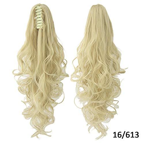 Perruque Clip Droit Sur Les Extensions De Postiche Blonde Clips Pony Tail Synthetic Hair Claw Ombre Ponytail Hair Pieces Pour Femmes-16613_24 Pouces