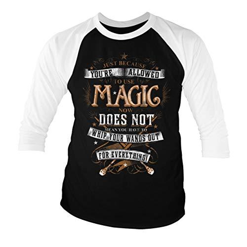 Harry Potter Offizielles Lizenzprodukt Magic Baseball Männer Viertel T-Shirt (Schwarz-Weiß), XX-Large