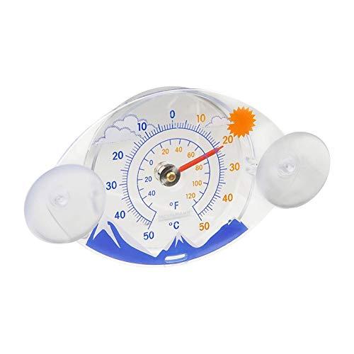 Fackelmann Fensterthermometer TECNO, analoges Außenthermometer, Thermometer mit Temperaturanzeige -/+50°C (Farbe: Bunt), Menge: 1 Stück