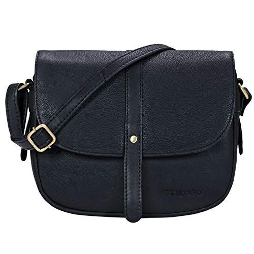 STILORD 'Kira' Umhängetasche Frauen Leder Vintage kleine Handtasche zum Ausgehen Klassische Abendtasche Partytasche Freizeittasche Echtleder, Farbe:schwarz