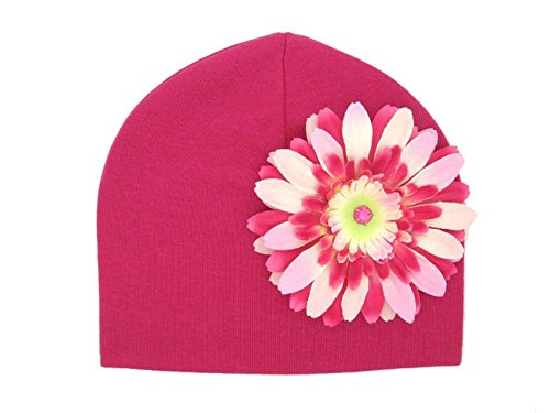 Jamie Rae Hats - Raspberry Cotton Hat with Pink & Raspberry Daisy, Size: 0-6M