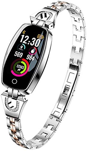Reloj inteligente impermeable para mujer, de 0,96 pulgadas, pantalla OLED, podómetro, rastreador de fitness, reloj con cámara de control remoto, compatible con iOS Android y plata