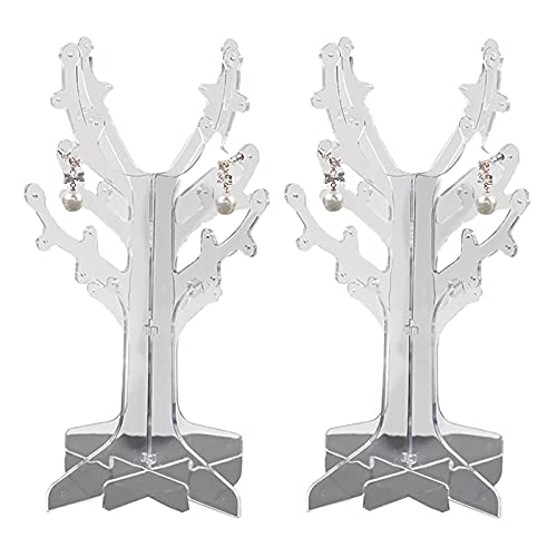 Yodio 2pcs Plastic Tree Stand Jewelry Display Necklace Earring Bracelet Holder Organizer Rack Tower (Transparent)