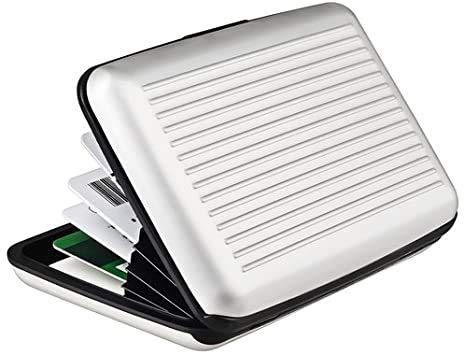 Clamour Stores Cartera con Bloqueo RFID [8 Ranuras | Aluminio] Identificación portátil de Identidad de Viaje | Tarjetero para Tarjetas de crédito con protección Segura para Hombres y Mujeres (Plata)