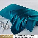 FLCA - Funda de almohada de seda de morera para cabello y piel, ambos lados 19 momme seda, 1 unidad, Verde azulado oscuro, Standard 50x75cm