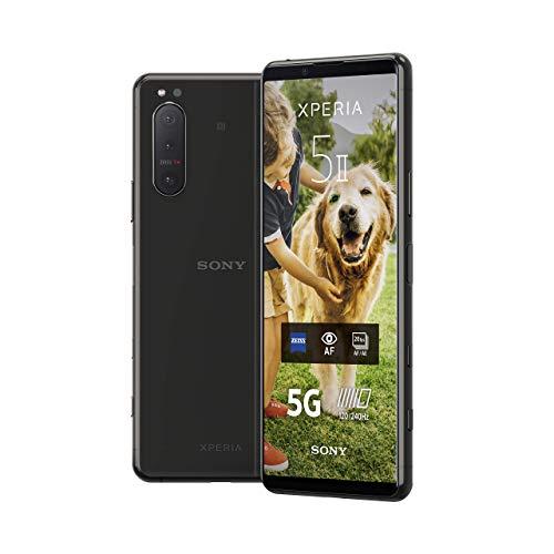 Sony Xperia 5 II 5G Smartphone (15,5 cm (6.1 Zoll) 21:9 CinemaWide FHD+ HDR OLED-Bildschirm, Dreifach-Kamera-System, 3,5-mm-Audio-Anschluss, Android 10, SIM Free, 8 GB RAM, 128 GB Speicher) Schwarz