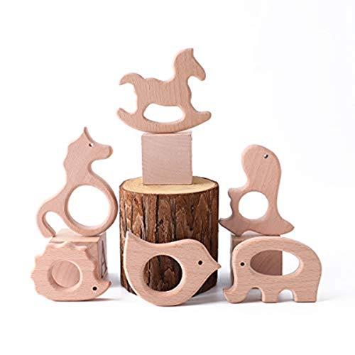 Best for baby 6PC Baby Teether Spielzeug Igel Elefant Dinosaurier Vogel Trojanisches Pferd Einhorn Eco-friendly Natural Anhänger Buche Hölzern Geschenk
