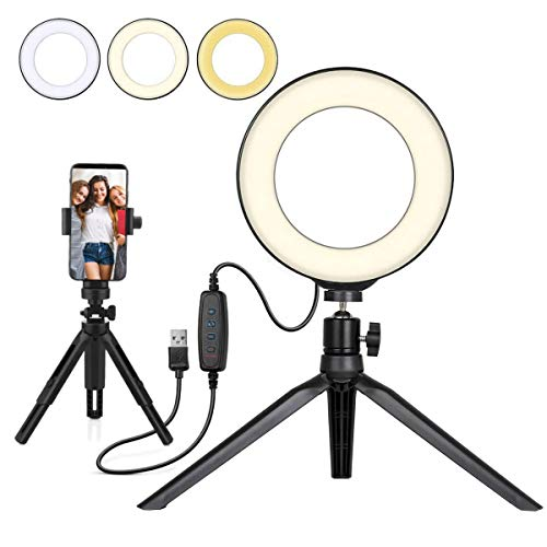 UNIQUE BRIGHT Beauty LED Ring Light 6' Dimmable Selfie Light Maquillaje Fotografía Iluminación Mini Circle Lámpara de Escritorio Light con Cellp Hone Holder para Youtube Videos/Streaming/Instagram