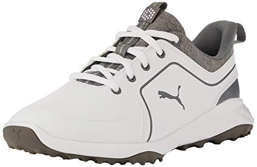 PUMA Jungen Grip Fusion 2.0 JRS Golfschuhe, Weiß White-Quiet Shade 01, 38 EU