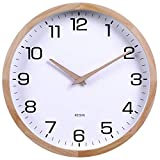 Kesin 12 Inches Wooden Round Silent Wall Clock Large Wood Wall Clocks Analog Digital Battery Operated Non Ticking for Living Room Kitchen Bedroom Office Vintage Home Decor