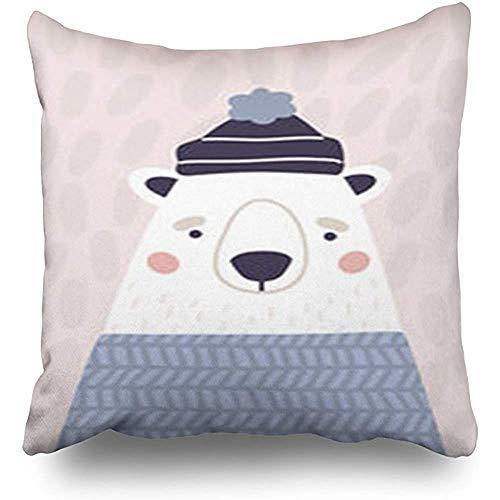 Imodest Throw kussenslopen baby schattige ijsbeer hoed trui verticale Wildlife bank schattig 45 x 45 cm kussenslopen kussenslopen set van 2