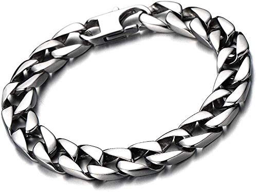 YOUZYHG co.,ltd Stainless Steel Flat Chain Bracelet for Men in Shiny Silver Color